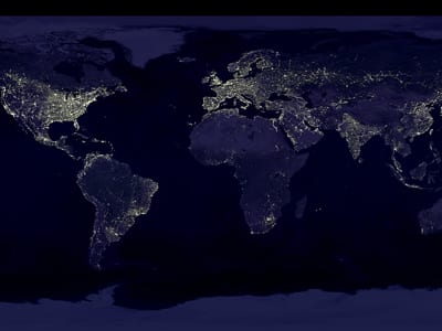 An image of Earth's city lights using data from the Defense Meteorological Satellite Program. (Credit: NASA)