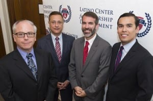 SMU's John G. Tower Center for Political Studies and the Dallas-based Latino Center for Leadership Development announced a strategic new academic policy institute at SMU Sept. 15. Speakers were, from left, Thomas DiPiero, dean of SMU's Dedman College of Humanities and Sciences; Jorge Baldor, Latino Center founder and SMU alumnus; Joshua Rovner, acting director of SMU's Tower Center; and Miguel Solis, Latino Center.
