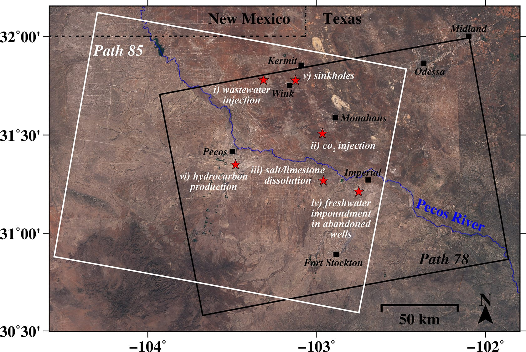 A new study by an SMU geophysical team found alarming rates of ground movement at various locations across a 4000-square-mile area of four Texas counties. Attribution: Zhong Lu, Jin-Woo Kim, SMU