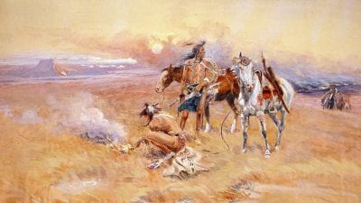 Blackfeet Burning Crow Buffalo Range, painting by Charles Marion Russell, 1905.
