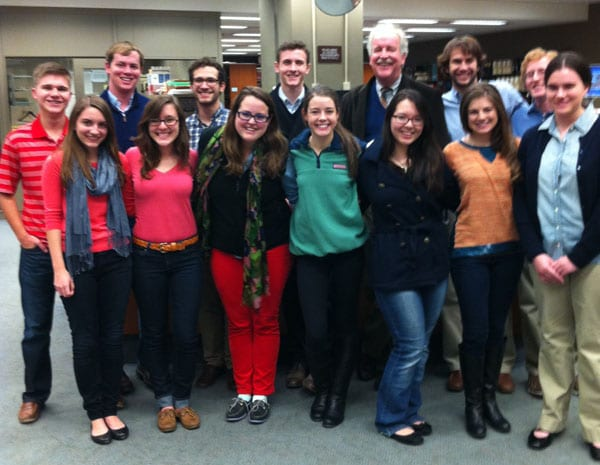 Student researchers with Professor Joe Kobylka at the Library of Congress