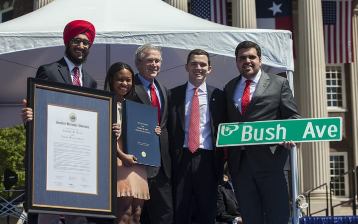 From left: SMU Student Body Vice President Elect Jaywin Singh Malhi, Student Body Secretary Elect Katherine Ladner, former U.S. President George W. Bush, Student Body President Alex Mace, and Student Body President Elect Ramon Trespalacios