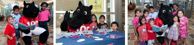 SMU's Mascot Peruna at the Mayor's Summer Reading Club