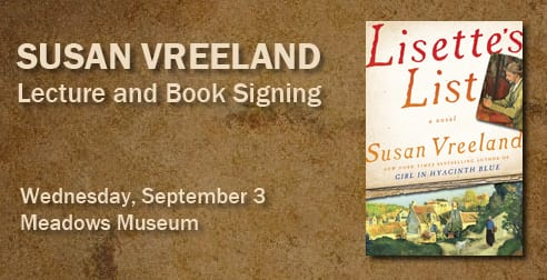 Susan Vreeland Book Signing, September 3
