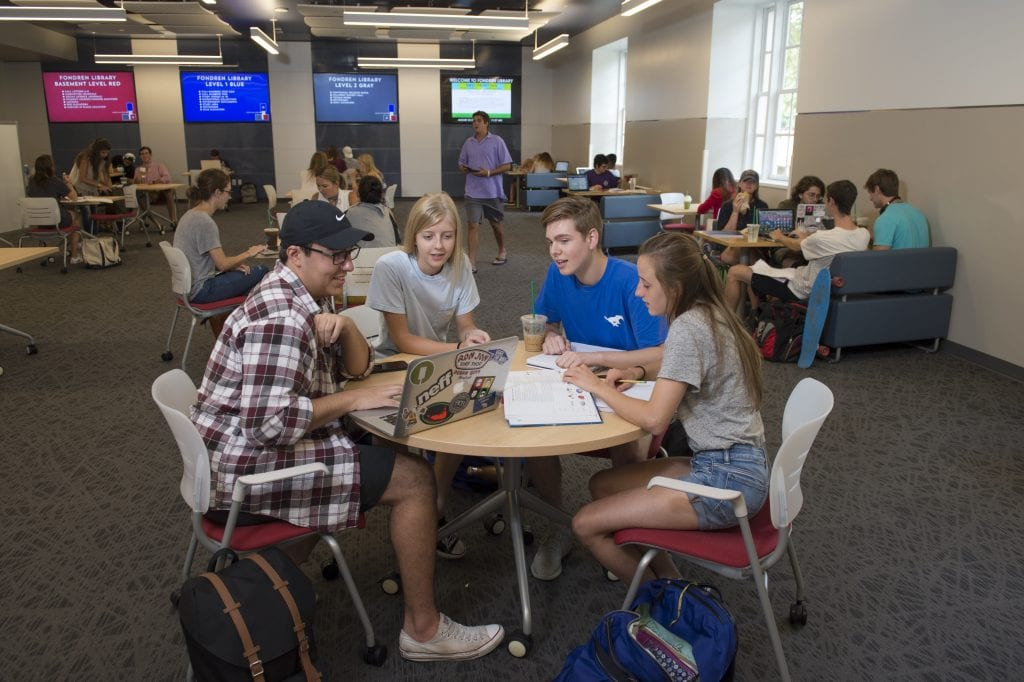 Students study at the new Collaborative Commons.