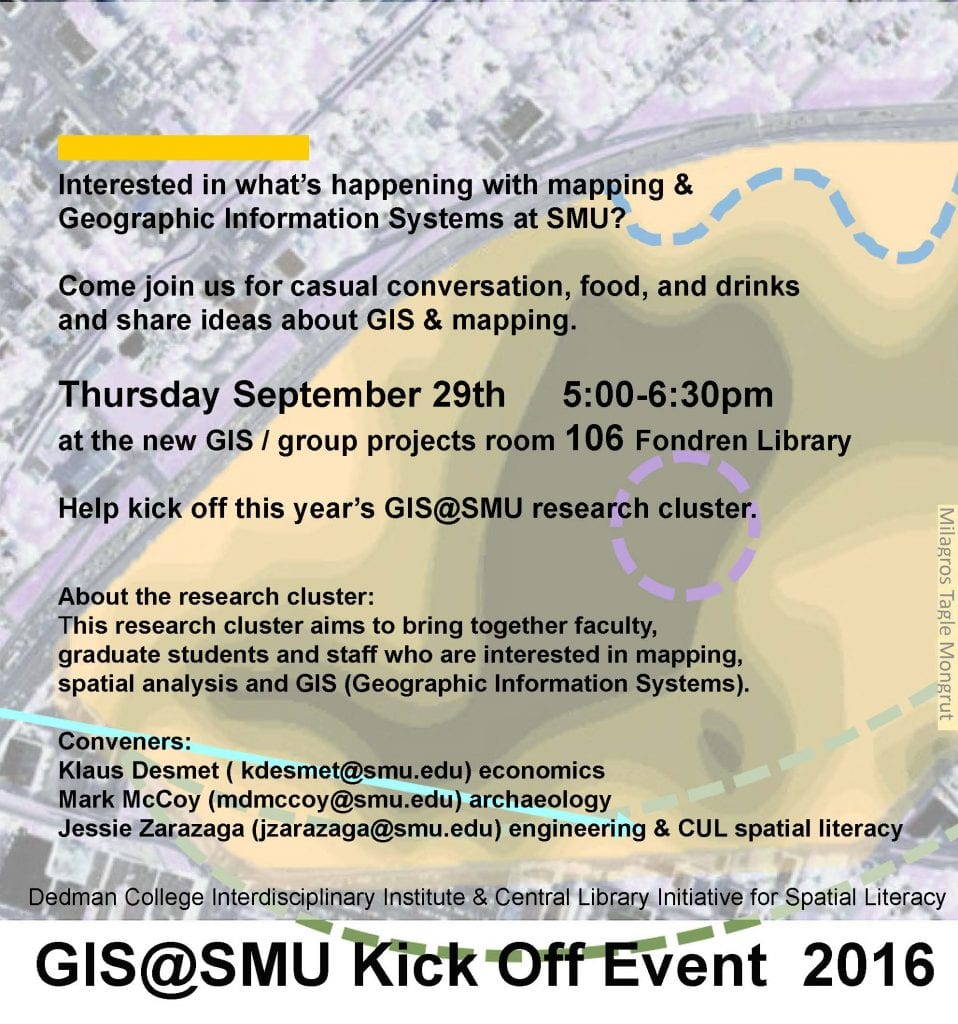 Poster with event deatils for GIS at SMU Kick Off event