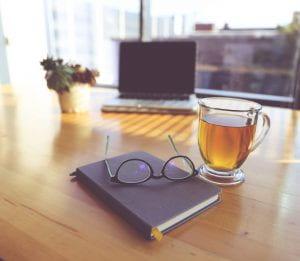 laptop with tea
