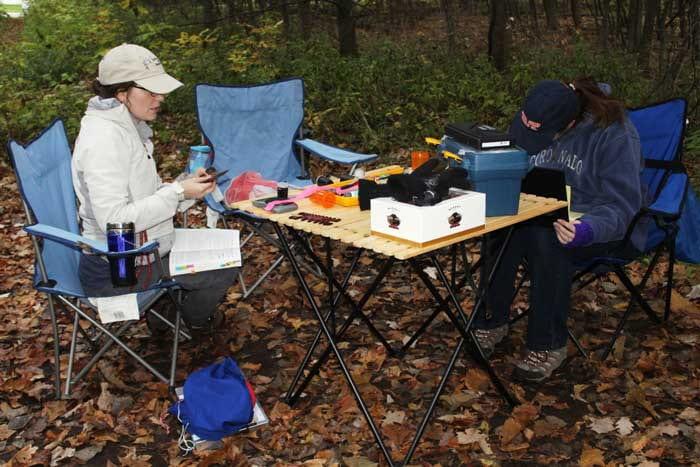 UW--Green Bay graduate student Stephanie Beilke measures a bird while undergraduate Kirsten Gullett records data.