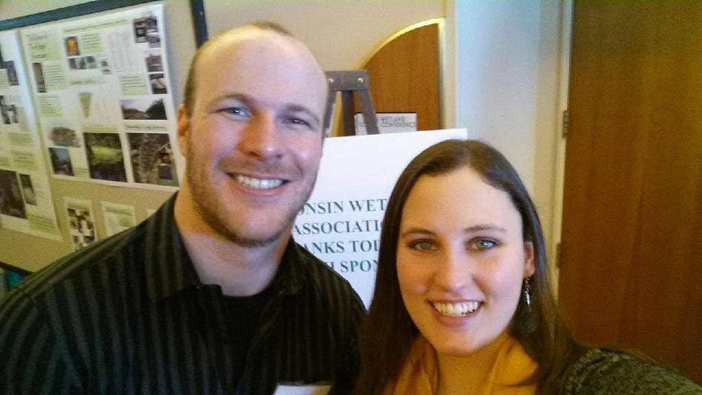 Jesse Weinzinger with fellow UWGB graduate student Chelsea Gunther at the Wisconsin Wetlands Association Meeting.