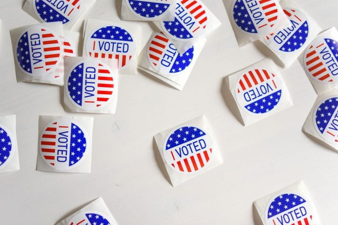 "A number of ""I VOTED"" stickers"
