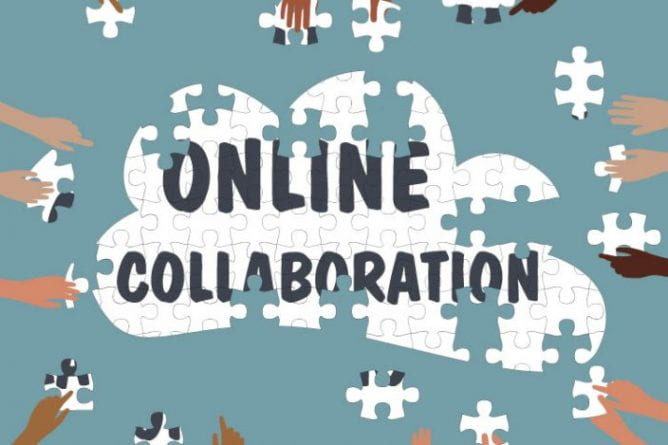 """Hands of students completing a cloud-shaped puzzle which reads """"Online Collaboration"""""""