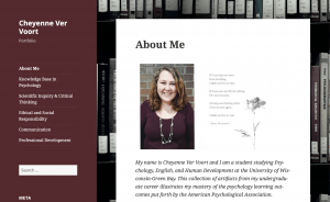 Example of student portfolio from Cheynne Ver Voort
