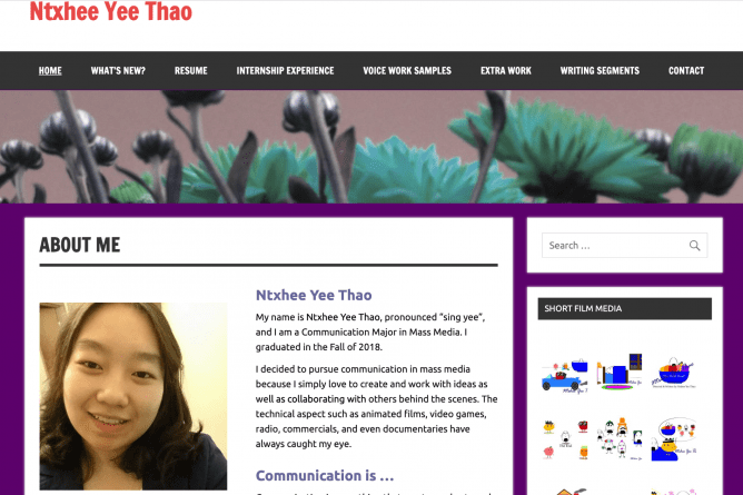 An example of Student ePortfolio from Ntxhee Yee Thao