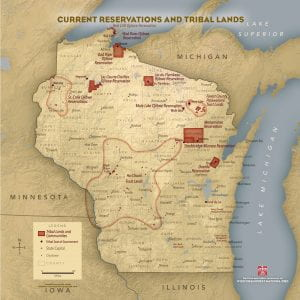 A map of Wisconsin's modern day reservations and Tribal lands, from Wisconsin First Nations.