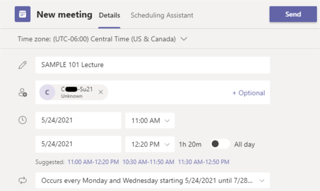 Scheduling A Recurring Teams Meeting For Class Sessions