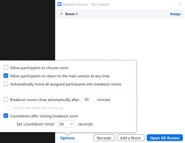"The breakout rooms ""Options"" pop-up menu"