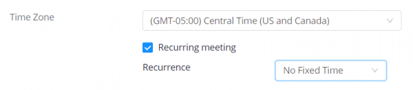 """The """"recurring meeting"""" box is check in the Zoom settings and the recurrence dropdown is set to """"no fixed time"""""""