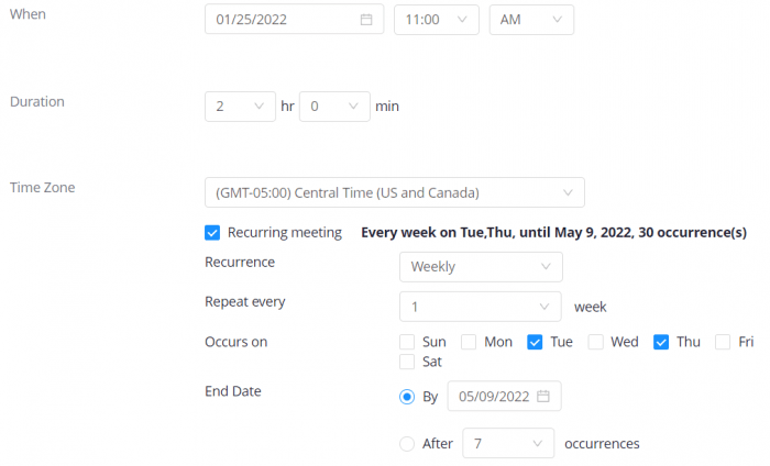 """""""When"""", """"duration"""" and """"time zone"""" settings for Zoom meetings; the meeting is set to start at 11 a.m. for a duration of 2 hours. Recurrence is checked and set to """"weekly"""", with Tuesdays and Thursdays checked. The end date is set to May 9, 2022."""