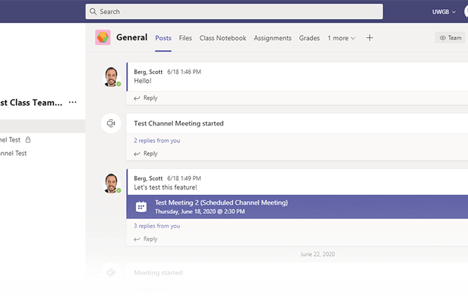 An example of a Teams dashboard.