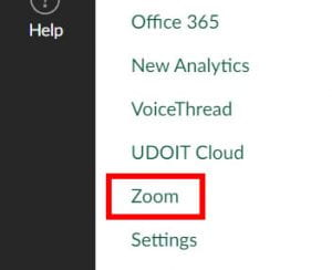 """The """"Zoom"""" link in the Canvas course navigation menu."""