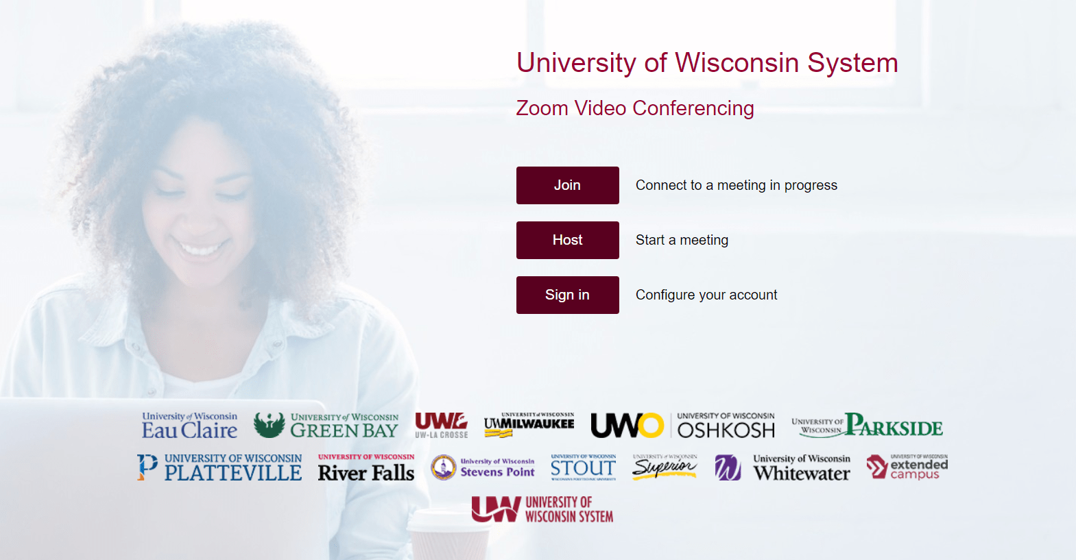 University of Wisconsin Zoom web portal sign-in page