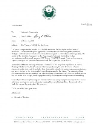 Memo: The Vision of UWGB for the Future