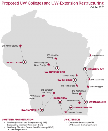 Map of Proposed UW Colleges and UW-Extension Restructuring