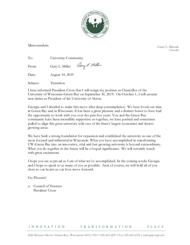 Chancellor's Transition Memo