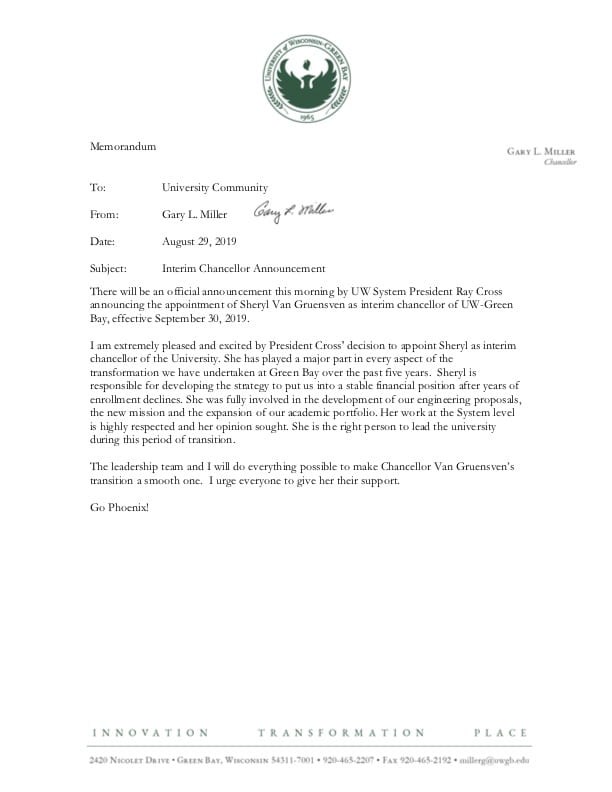 Interim Chancellor Announcement