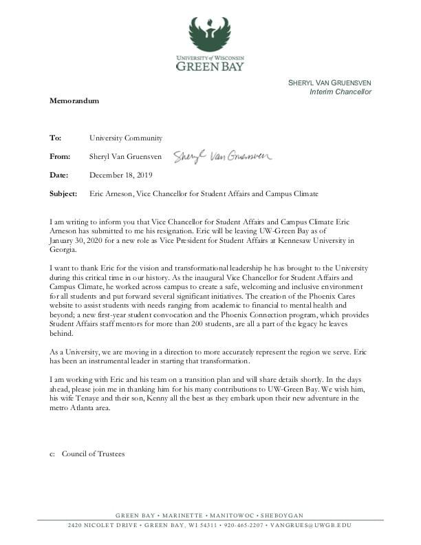 Arneson Resignation