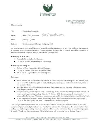 Memo: Commencement Changes for Spring 2020
