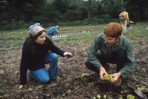 Two students planting a garden at UW-Green Bay