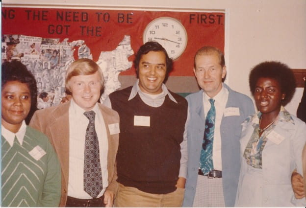 Second from left to right: Jerry Olson, Norbert Hill Jr., Chancellor Ed Weidner, and Thelma Sias