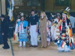 Campus Pow Wow. From Left to Right: Sarah Butler, Chancellor Bruce Shepard, Cyndie Shepard, Darwin Dick, April 2002.