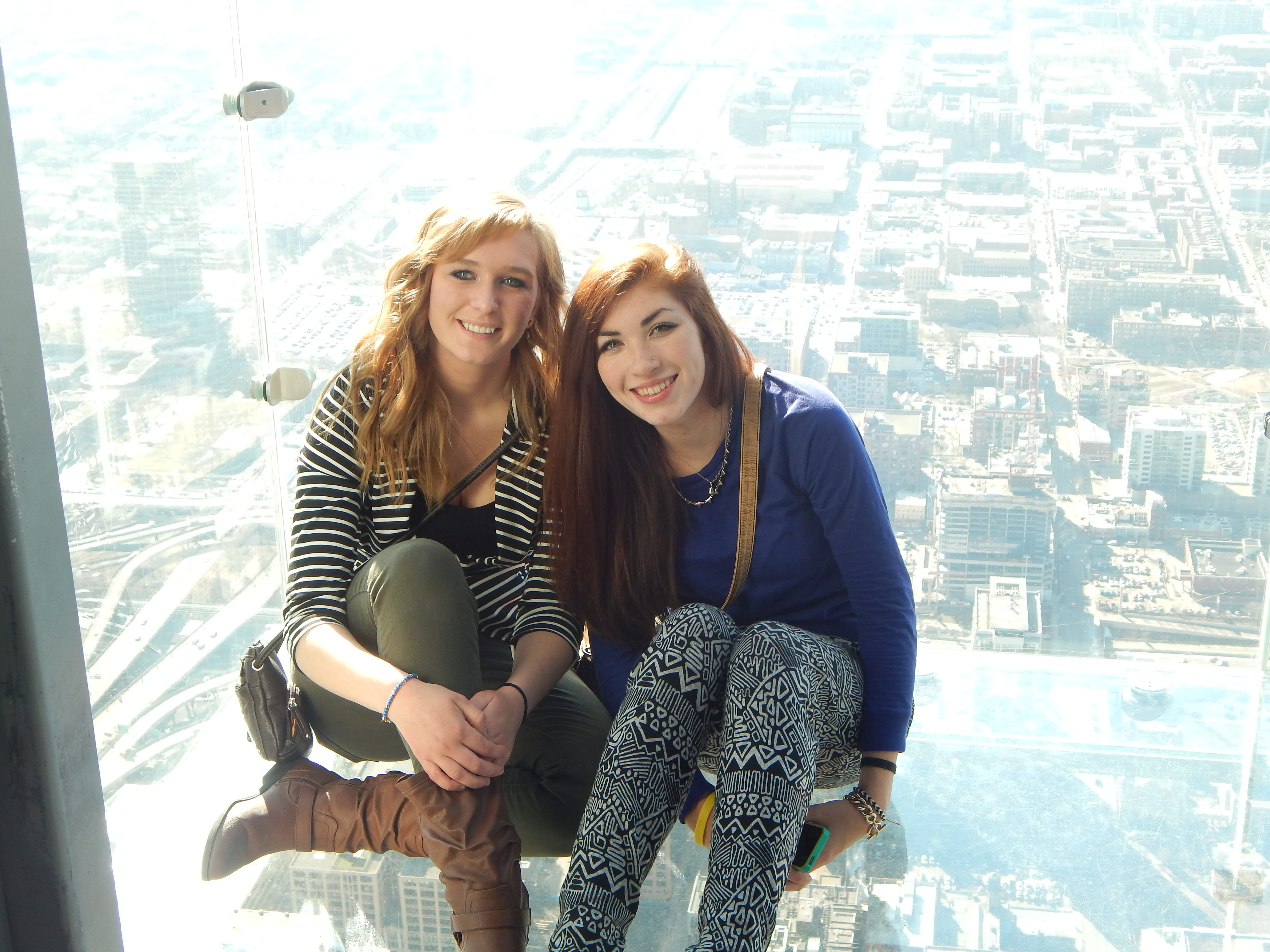 Chicago Trip: Girls in Glass-bottom Elevator
