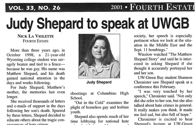 Newspaper article Judy Shepard