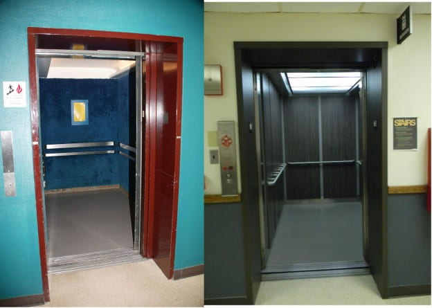 blue shag elevator then and now TBT