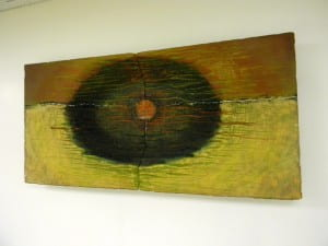 """E-merge"" by Prof. Kristy Deetz. Ochre & red diptych. Location: 3rd floor, near media viewing rooms."