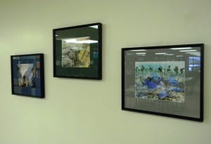 """Tsunami"" watercolor series by UWGB student Brian Duka-Smith. Location: 4th floor, near Popular Reading Collection."