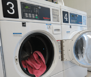 There is a laundry room located in each residence hall.