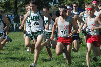 Abe Clark, No. 456, on UW-Green Bay cross-country team