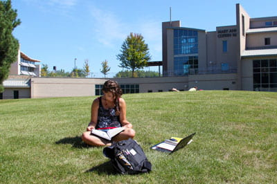 UW-Green Bay: student studying