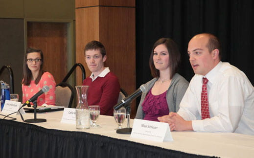 Recent graduate panel members speak on professionalism