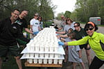 Photo: Alumni volunteers ready water station at Green Bay Cellcom marathon.