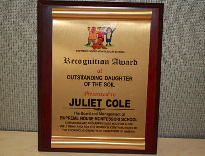 Juliet Cole, Recognition Award of Outstanding Daughter of the Soil