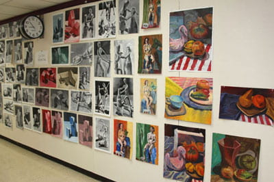 Studio Arts, student art display