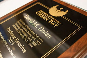Prof. David Dolan plaque