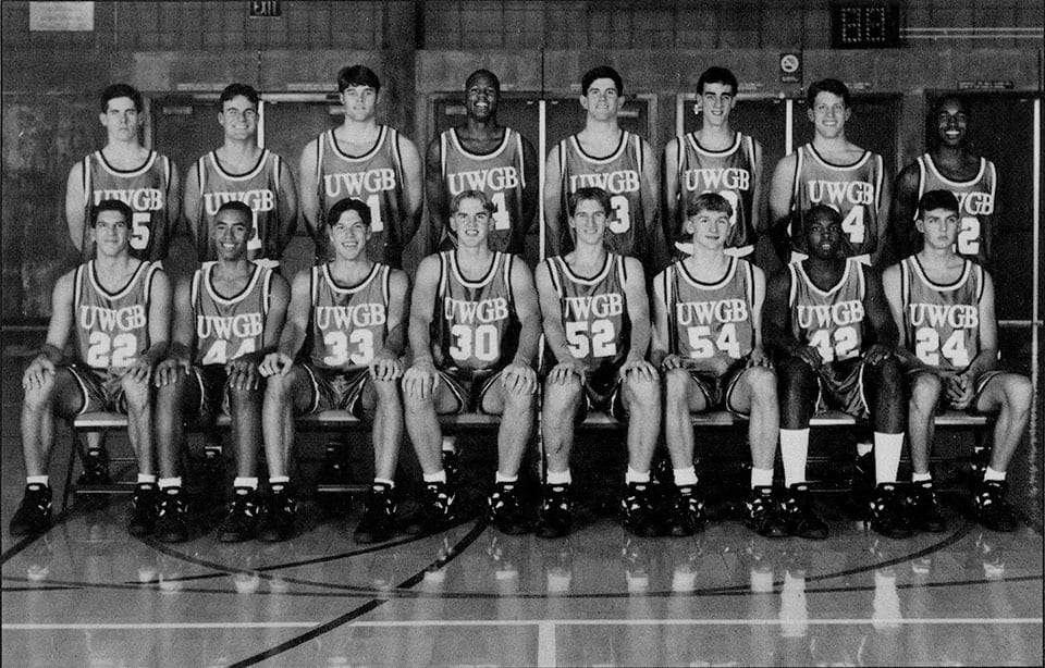 1996 NCAA Tournament Team First round Seated (left ot right): Gary Grzesk, Mike Nabena, Jeff Nordgaard, Pete Wade, Matt Hill, Todd Hassenfelt, James Daggs, Jason Collien. Standing (left to right): Luke Kiss, Ryan Borowicz, Gabe Stevens, Tom Anderson, Rico Rondorfo, Kevin Olm, Ben Berlowski, Eric Jackson.