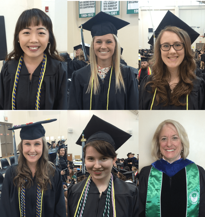 Graduates with Ginny Riopelle at 2016 Spring Commencement