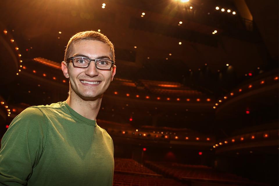 Nicholas Schommer in the Weidner Center
